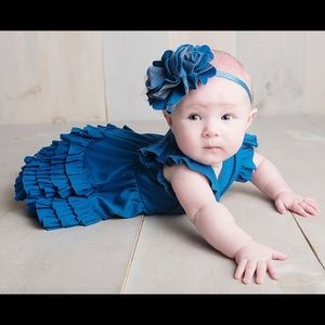 Lemon Loves Layette Seaport Blue Mia Dress Set
